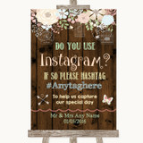 Rustic Floral Wood Instagram Photo Sharing Customised Wedding Sign