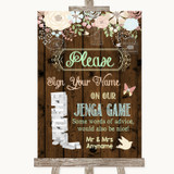 Rustic Floral Wood Jenga Guest Book Customised Wedding Sign