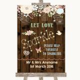Rustic Floral Wood Let Love Sparkle Sparkler Send Off Customised Wedding Sign