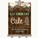 Rustic Floral Wood Let Them Eat Cake Customised Wedding Sign
