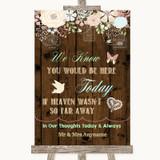 Rustic Floral Wood Loved Ones In Heaven Customised Wedding Sign