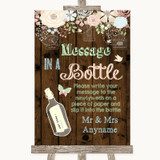 Rustic Floral Wood Message In A Bottle Customised Wedding Sign