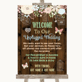 Rustic Floral Wood No Phone Camera Unplugged Customised Wedding Sign