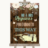 Rustic Floral Wood Photobooth This Way Left Customised Wedding Sign