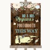 Rustic Floral Wood Photobooth This Way Right Customised Wedding Sign