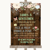 Rustic Floral Wood Pick A Prop Customised Wedding Sign