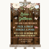 Rustic Floral Wood Pick A Prop Photobooth Customised Wedding Sign