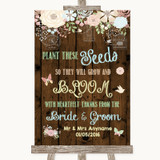 Rustic Floral Wood Plant Seeds Favours Customised Wedding Sign