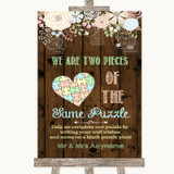 Rustic Floral Wood Puzzle Piece Guest Book Customised Wedding Sign