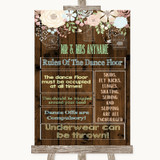 Rustic Floral Wood Rules Of The Dance Floor Customised Wedding Sign