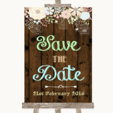 Rustic Floral Wood Save The Date Customised Wedding Sign