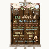 Rustic Floral Wood Signature Favourite Drinks Customised Wedding Sign