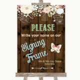 Rustic Floral Wood Signing Frame Guestbook Customised Wedding Sign