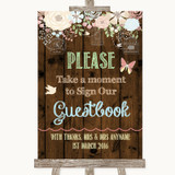 Rustic Floral Wood Take A Moment To Sign Our Guest Book Wedding Sign