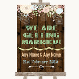 Rustic Floral Wood We Are Getting Married Customised Wedding Sign