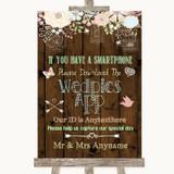 Rustic Floral Wood Wedpics App Photos Customised Wedding Sign