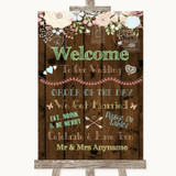 Rustic Floral Wood Welcome Order Of The Day Customised Wedding Sign
