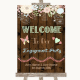 Rustic Floral Wood Welcome To Our Engagement Party Customised Wedding Sign