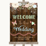 Rustic Floral Wood Welcome To Our Wedding Customised Wedding Sign