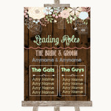 Rustic Floral Wood Who's Who Leading Roles Customised Wedding Sign