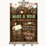 Rustic Floral Wood Wishing Well Message Customised Wedding Sign