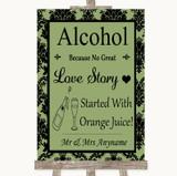 Sage Green Damask Alcohol Bar Love Story Customised Wedding Sign