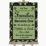 Sage Green Damask As Families Become One Seating Plan Customised Wedding Sign