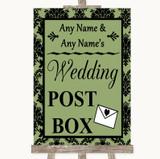 Sage Green Damask Card Post Box Customised Wedding Sign