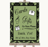 Sage Green Damask Cards & Gifts Table Customised Wedding Sign