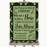 Sage Green Damask Cheese Board Song Customised Wedding Sign