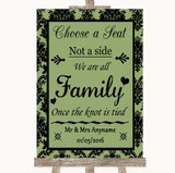 Sage Green Damask Choose A Seat We Are All Family Customised Wedding Sign
