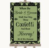 Sage Green Damask Confetti Customised Wedding Sign
