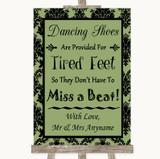 Sage Green Damask Dancing Shoes Flip-Flop Tired Feet Customised Wedding Sign