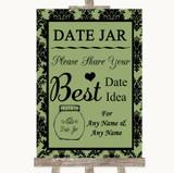 Sage Green Damask Date Jar Guestbook Customised Wedding Sign