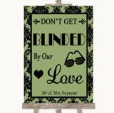 Sage Green Damask Don't Be Blinded Sunglasses Customised Wedding Sign