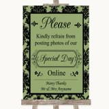 Sage Green Damask Don't Post Photos Online Social Media Wedding Sign