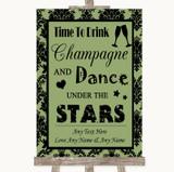 Sage Green Damask Drink Champagne Dance Stars Customised Wedding Sign