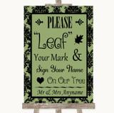 Sage Green Damask Fingerprint Tree Instructions Customised Wedding Sign