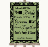 Sage Green Damask Friends Of The Bride Groom Seating Customised Wedding Sign