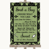 Sage Green Damask Grab A Bag Candy Buffet Cart Sweets Customised Wedding Sign
