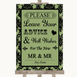 Sage Green Damask Guestbook Advice & Wishes Gay Customised Wedding Sign