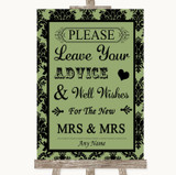 Sage Green Damask Guestbook Advice & Wishes Lesbian Customised Wedding Sign