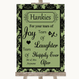 Sage Green Damask Hankies And Tissues Customised Wedding Sign