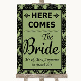 Sage Green Damask Here Comes Bride Aisle Sign Customised Wedding Sign