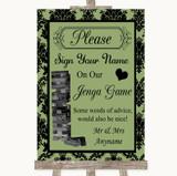 Sage Green Damask Jenga Guest Book Customised Wedding Sign