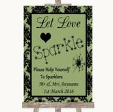 Sage Green Damask Let Love Sparkle Sparkler Send Off Customised Wedding Sign