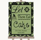 Sage Green Damask Let Them Eat Cake Customised Wedding Sign