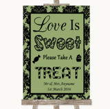 Sage Green Damask Love Is Sweet Take A Treat Candy Buffet Wedding Sign