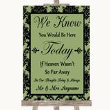 Sage Green Damask Loved Ones In Heaven Customised Wedding Sign