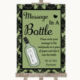 Sage Green Damask Message In A Bottle Customised Wedding Sign